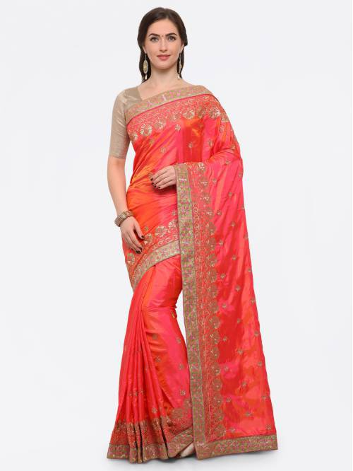 Craftsvilla Coral Silk Blend Zari Work Traditional Saree With Unstitched Blouse Material