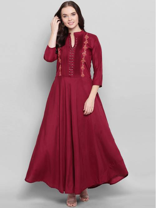 Maroon Silk Blend Embroidered Designer Readymade Gown
