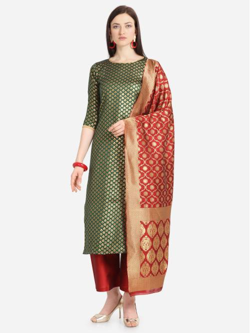 Green Silk Hand Woven Unstitched Straight Suit