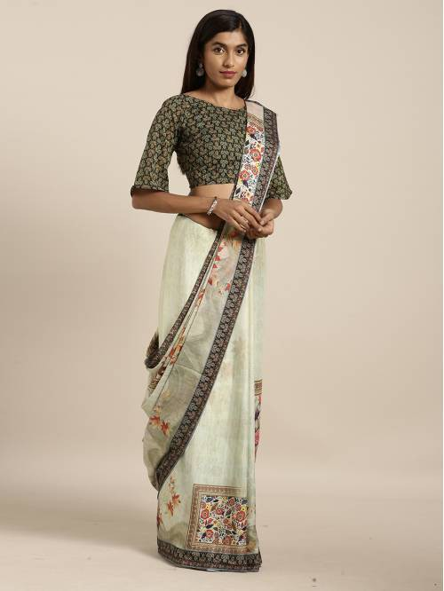 Craftsvilla Multicolor Georgette Solid Saree With Unstitched Blouse Material