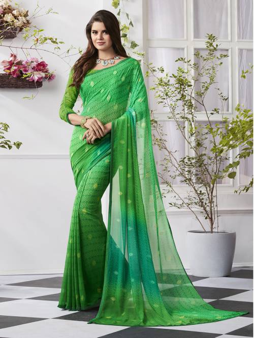 Craftsvilla Green Georgette Plain Partywear Saree With Unstitched Blouse Material