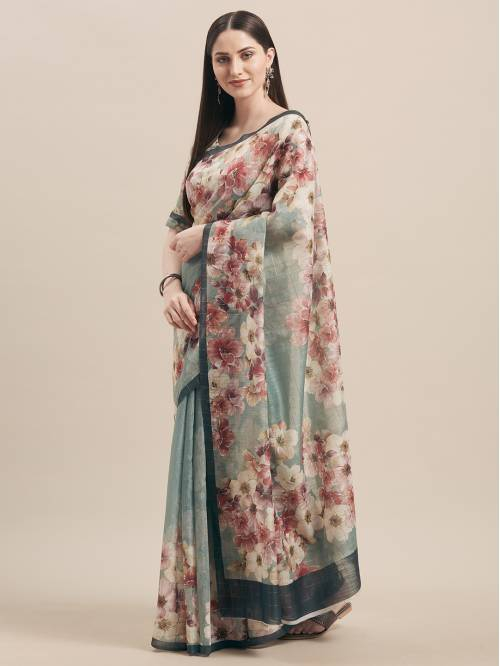 Green Linen Designer Woven Saree With Unstitched Blouse Material