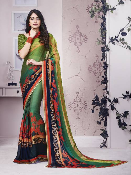 Craftsvilla Green Georgette Floral Printed Partywear Saree With Unstitched Blouse Material