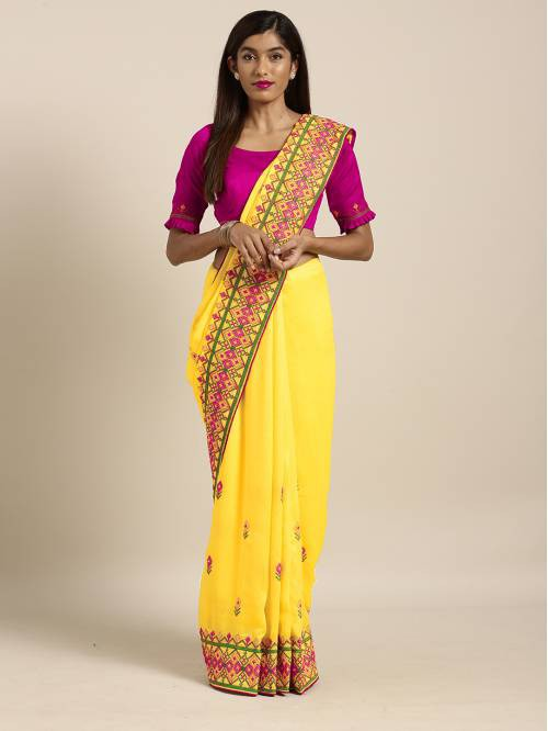Craftsvilla Yellow Georgette Thread Work Saree With Unstitched Blouse Material