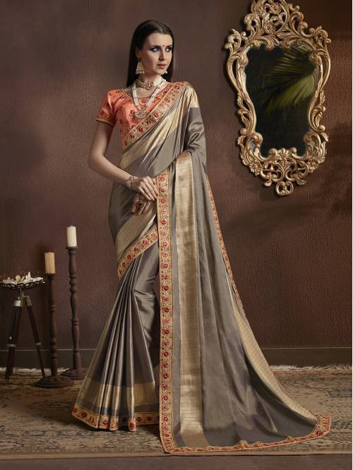 Craftsvilla Grey Georgette Resham Embroidery Partywear Saree With Unstitched Blouse Material