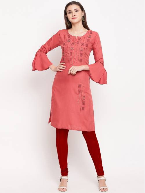 Red Cotton Embroidered Straight Solid Kurti