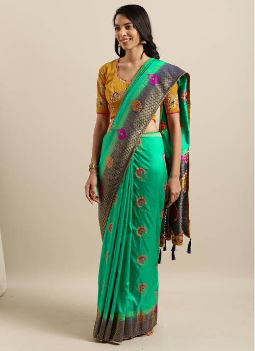 Green Silk Blend Resham Embroidery Saree With Unstitched Blouse Material