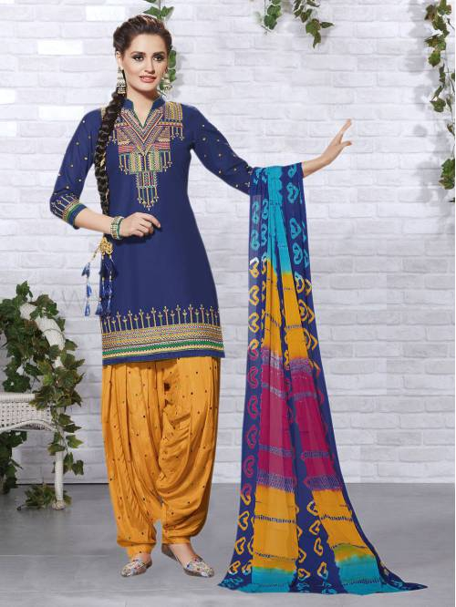 Craftsvilla Bue And Yellow Color Cotton Embroidered Unstitched Straight Patiala Suit