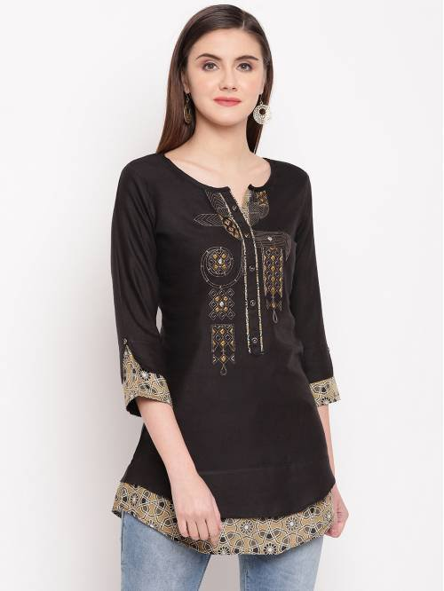 Black Viscose Embroidered A Line Style Short Kurti