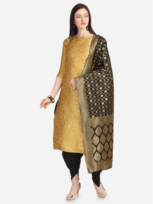 Yellow Silk Hand Woven Unstitched Straight Suit