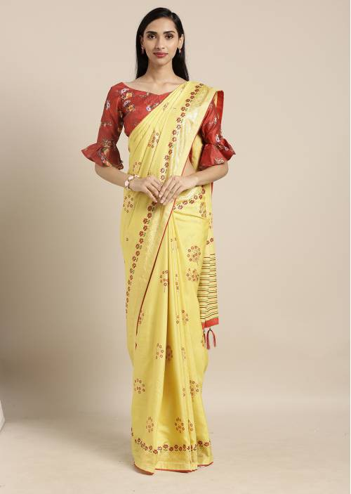 Craftsvilla Yellow Silk Blend Saree With Unstitched Blouse Material