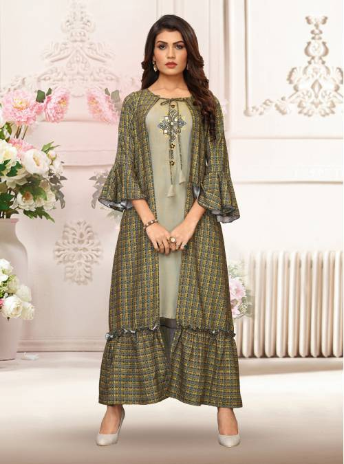 Green Silk Printed A Line Style Kurti With Shrug