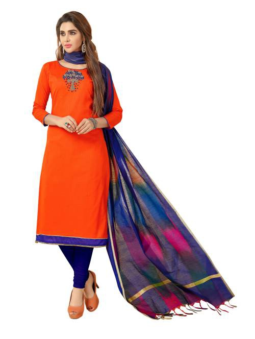 Craftsvilla Orange Cotton Blend Embroidered Unstitched Straight Suit
