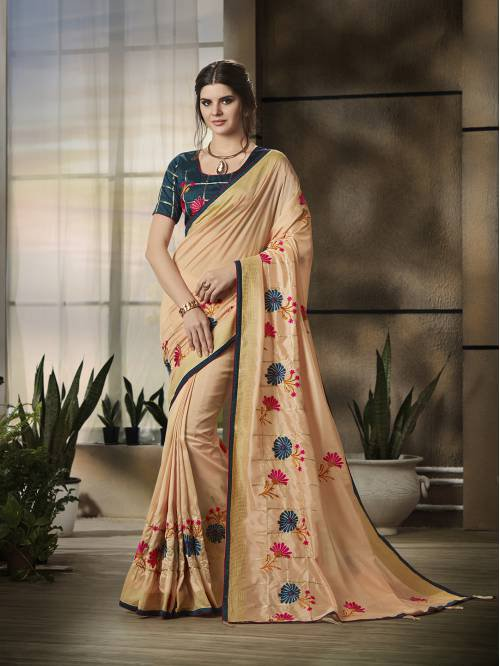 Craftsvilla Peach Jacquard Thread Work Partywear Saree With Unstitched Blouse Material