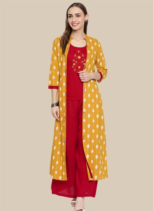 Red Viscose Embroidered A Line Style Readymade Kurta With Palazzo