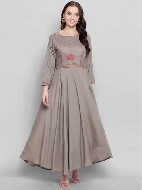 Grey Silk Blend Embroidered Designer Readymade Gown