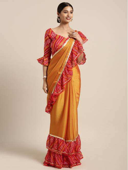 Craftsvilla Orange Chiffon Saree With Unstitched Blouse Material