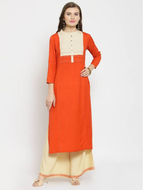 Craftsvilla Orange  Rayon Embroidered Straight Kurta With Palazzo Set