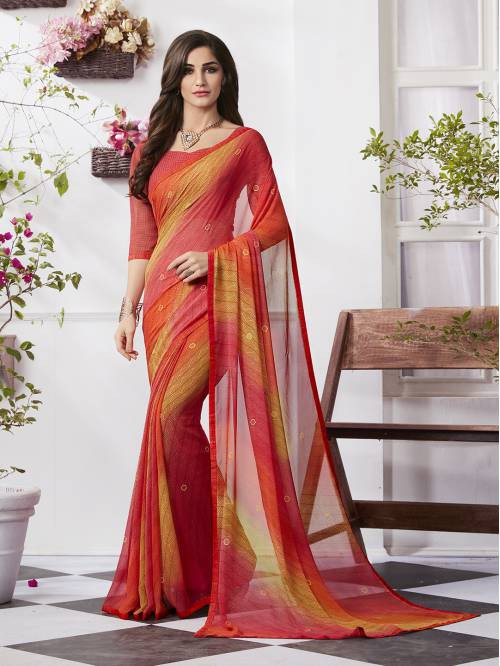 Craftsvilla Multicolor Georgette Plain Partywear Saree With Unstitched Blouse Material
