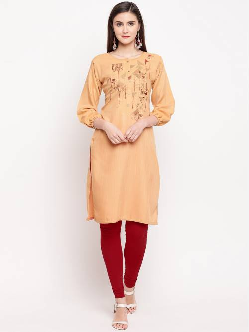 Beige Cotton Embroidered Straight Solid Kurti