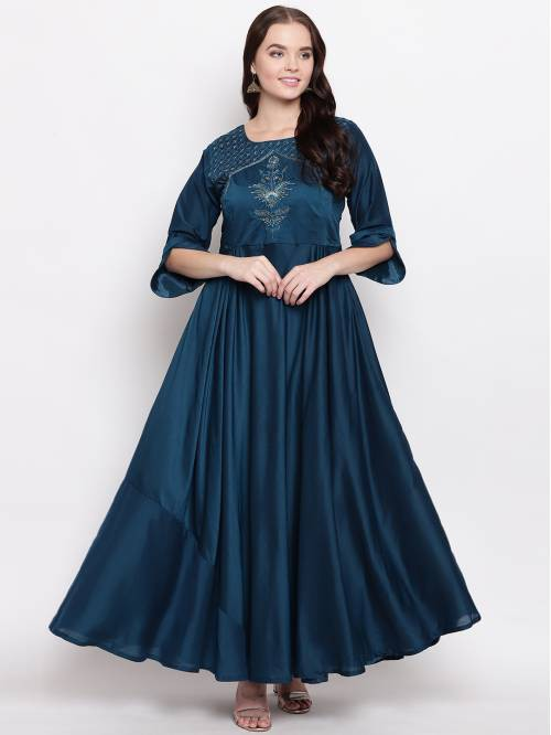 Blue Silk Blend Embroidered Designer Readymade Gown