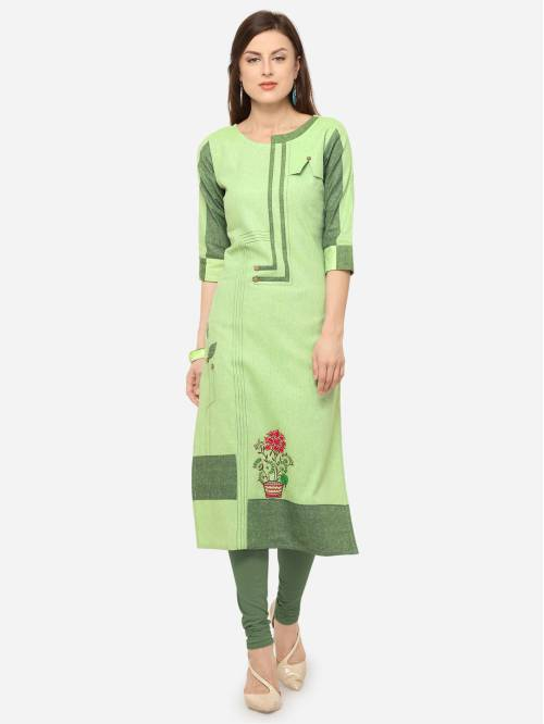 Green Cotton Blend Embroidered Knee Length Straight Kurti