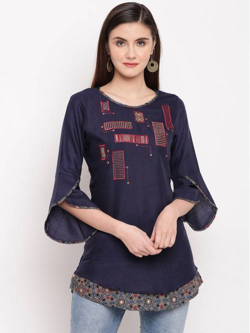 Blue Viscose Embroidered A Line Style Short Kurti