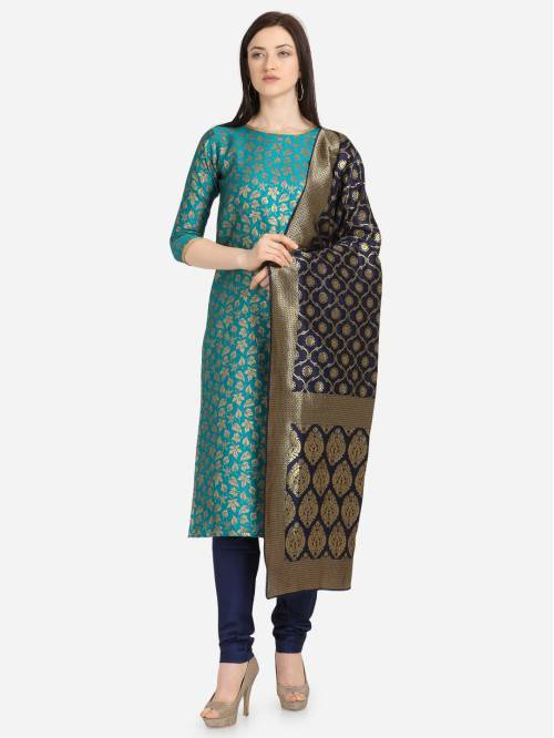 Sky Blue Silk Hand Woven Unstitched Straight Suit