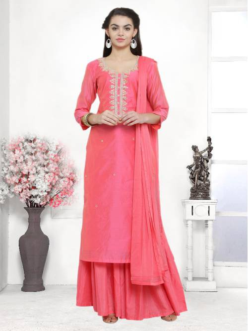 Craftsvilla Coral Color Cotton Blend Embroidered Unstitched Straight Suit