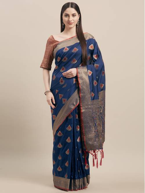 Blue Silk Blend Designer Woven Saree With Unstitched Blouse Material