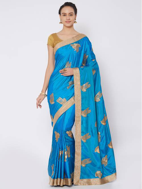 Craftsvilla Turquoise Silk Blend Zari Work Traditional Saree With Unstitched Blouse Material