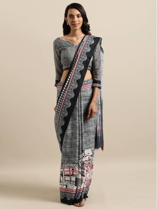 Multicolor Cotton Silk Designer Printed Saree With Unstitched Blouse Material