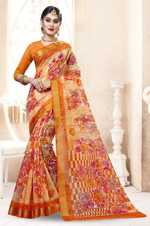 Orange Cotton Blend Floral Printed Saree With Unstitched Blouse Material