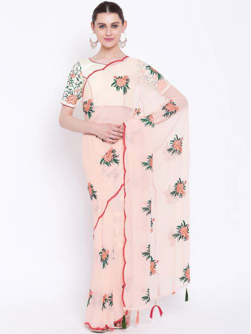 Craftsvilla Peach Georgette Resham Embroidered Partywear Saree With Unstitched Blouse Material