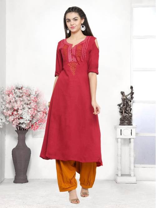 Craftsvilla Maroon Color Cotton Blend Embroidered Unstitched Straight Suit