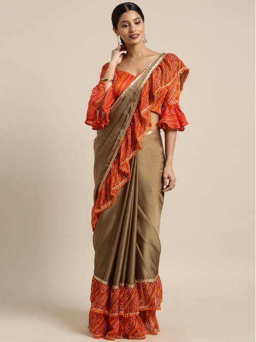 Craftsvilla Brown Chiffon Saree With Unstitched Blouse Material
