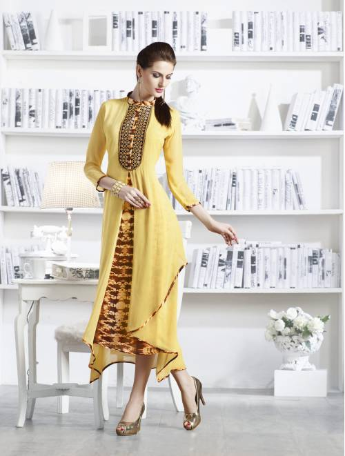 Yellow With Brown Georgette Readymade Embroidered Indo-western Party Wear Kurti