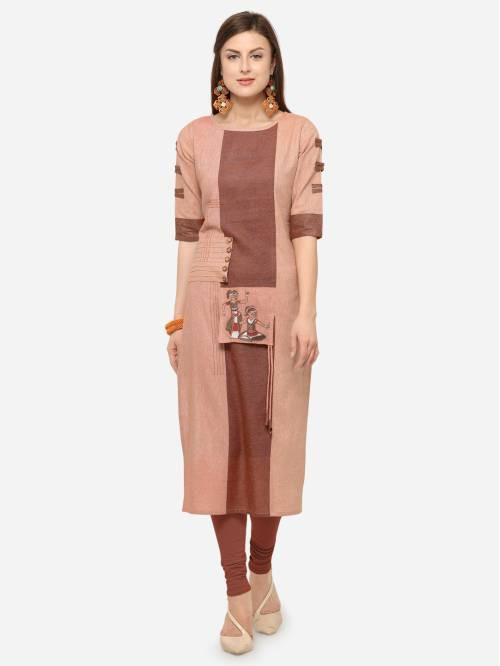 Peach Cotton Blend Embroidered Knee Length Straight Kurti