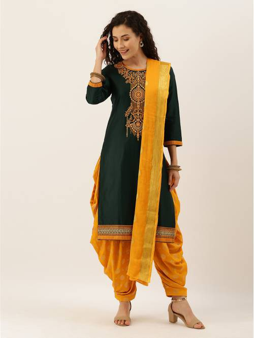Green Silk Embroidered Unstitched Straight Suit