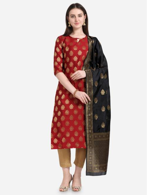 Red Silk Woven Unstitched Straight Suit