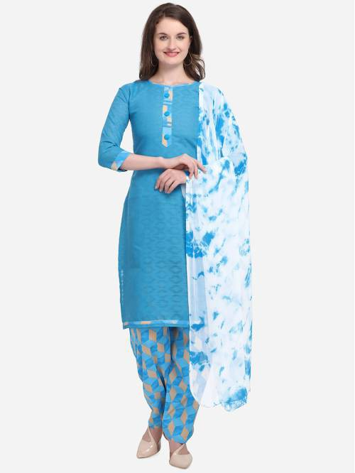 Kvsfab Sky Blue Cotton Blend Embroidered Unstitched Straight Suit
