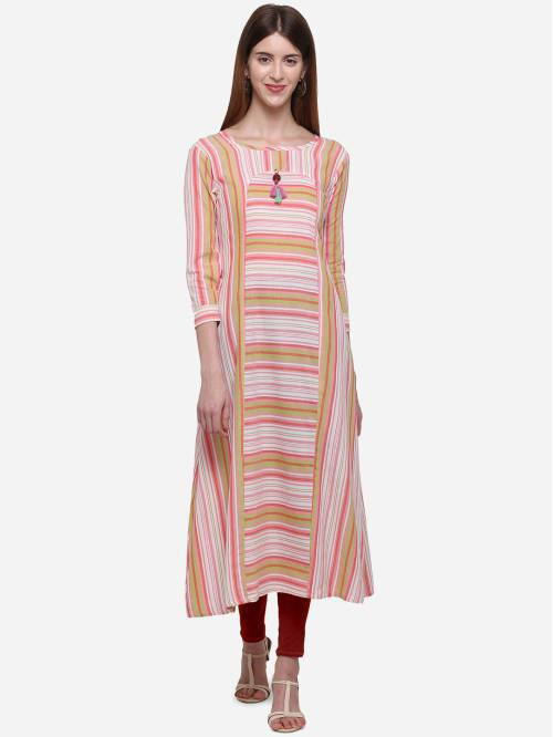 Kvsfab Multicolor Cotton Blend Printed Straight Kurti