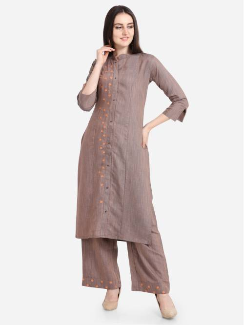 Kvsfab Brown Color Embroidered Kurta Palazzo Set
