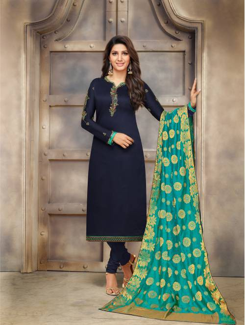 Craftsvilla Navy Cotton Blend Embroidered Semi-stitched Straight Suit
