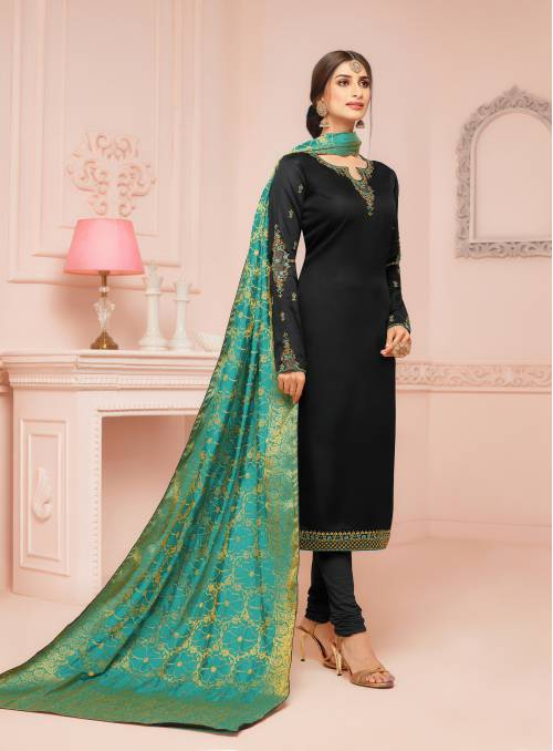 Craftsvilla Cotton Blend Black Resham Embroidery Unstitched Straight Suit