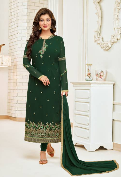 Green Georgette Resham Embroidery Semi-stitched Straight Suit