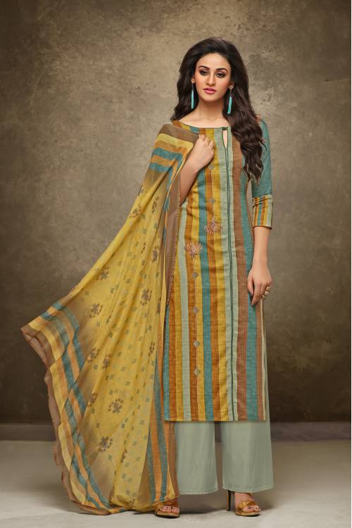 Multicolor Cotton Resham Embroidery Unstitched Salwar Suit