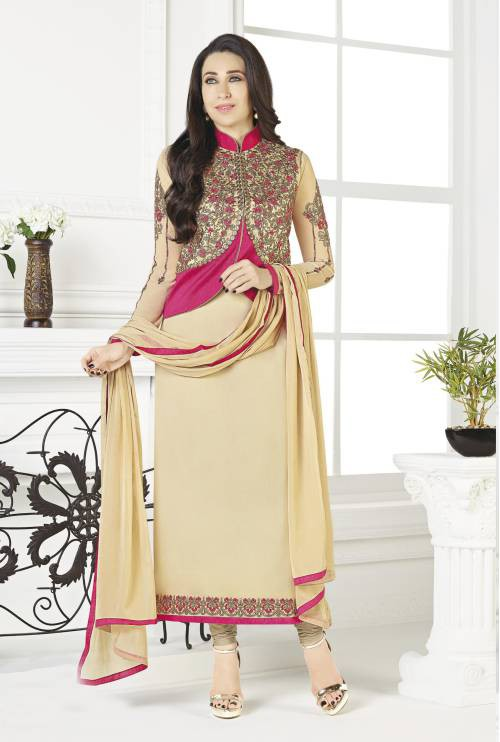 Beige And Pink Color Georgette Embroidered Unstitched Jacket Style Suit