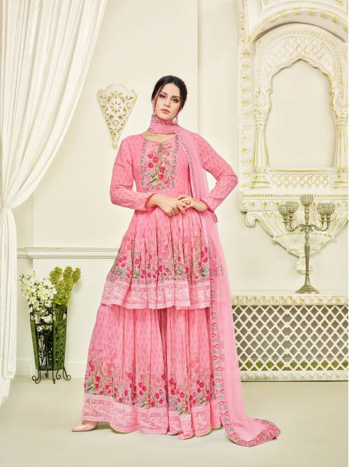 Pink Printed Georgette Semi-stitched Pakistani Suit