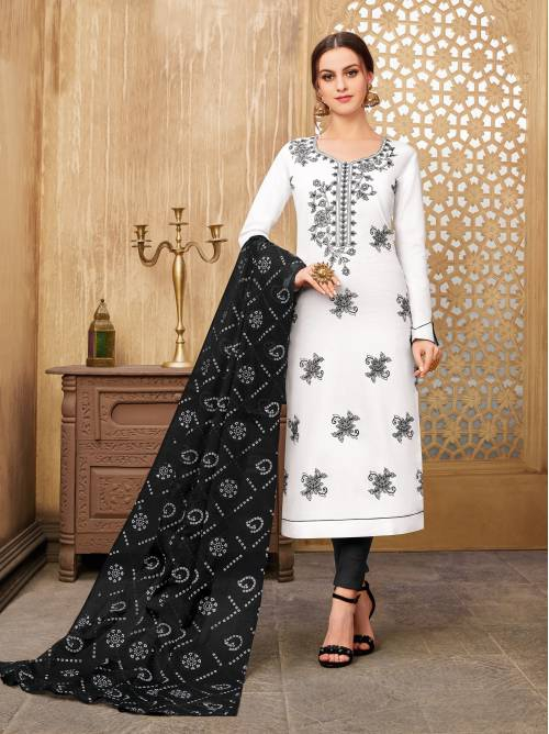 White Cotton Blend Embroidered Unstitched Straight Suit